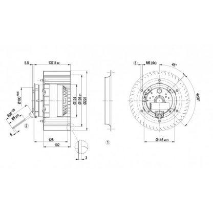Центробежный вентилятор R4E225BK0503 R4E225-BK05-03