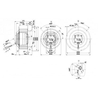 Центробежный вентилятор R4E250CG0101 R4E250-CG01-01