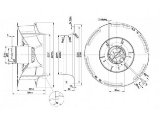 Центробежный вентилятор R4E355RB1001 R4E355-RB10-01