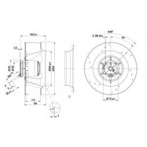 Центробежный вентилятор R4E400AP1706 R4E400-AP17-06