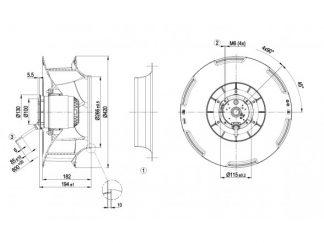 Центробежный вентилятор R4E400RO0901 R4E400-RO09-01