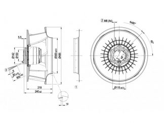 Центробежный вентилятор R4E450RH0101 R4E450-RH01-01