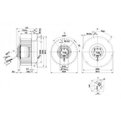 Центробежный вентилятор R6D355CI0501 R6D355-CI05-01
