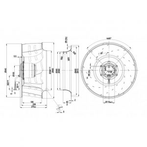 Центробежный вентилятор R6D560AH0501 R6D560-AH05-01