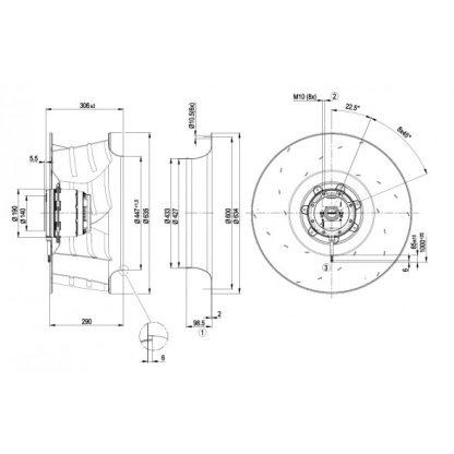Центробежный вентилятор R6D630AT0301 R6D630-AT03-01