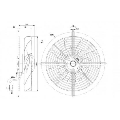Осевой вентилятор S2E250BM0601 S2E250-BM06-01