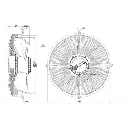 Осевой вентилятор S3G500AE3301 S3G500-AE33-01