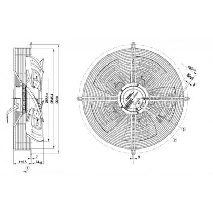 Осевой вентилятор S3G560AP6821 S3G560-AP68-21