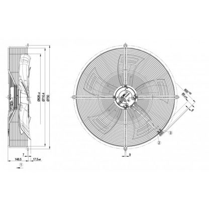 Осевой вентилятор S3G630AC5251 S3G630-AC52-51